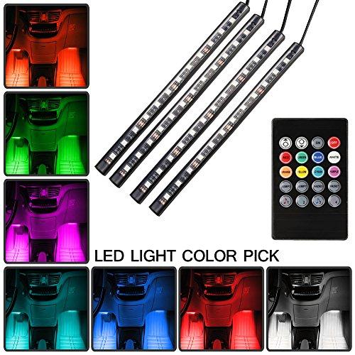 car led strip lights top notch 4 pieces multi color car rgb led light strip under dash lighting. Black Bedroom Furniture Sets. Home Design Ideas